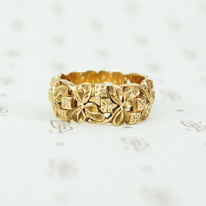 wide art carved vintage 14k yellow gold band size 7