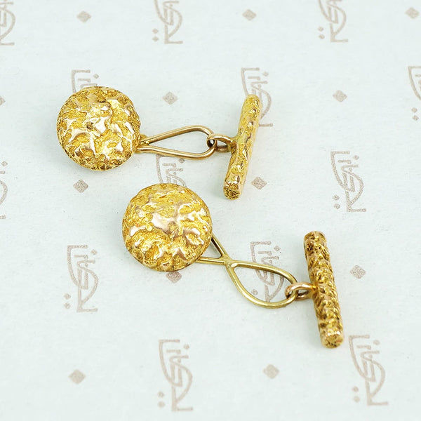 gold vintage cuff links