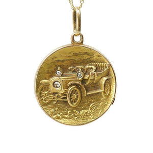 Antique Car Locket Gold with Diamonds
