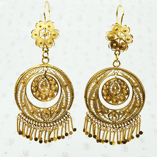 Huge gold filigree dangle earrings