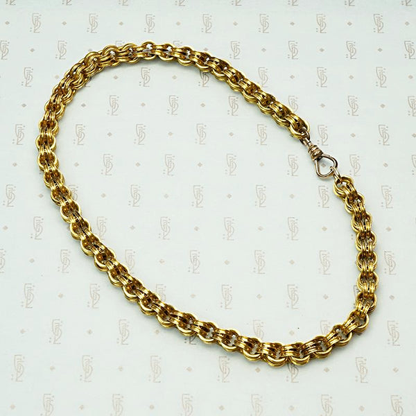 Antique Heavy Grooved Double Link Rolo Chain