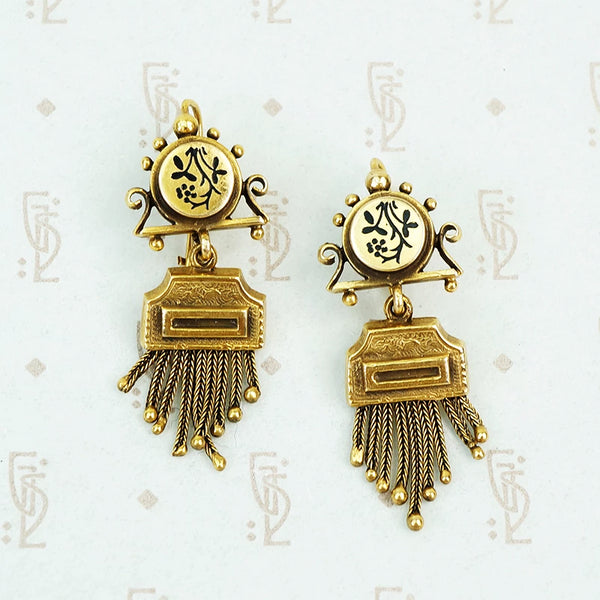 victorian revival 14k yellow gold black enamel fringe earrings