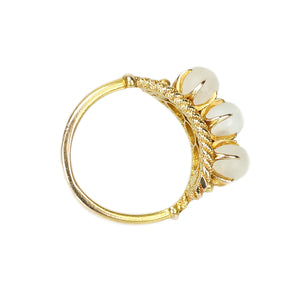 Glowing Moonstone and Gold Vintage Ring - Gem Set Love
