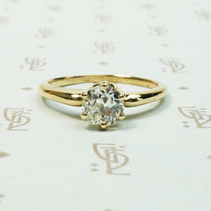 VS old european cut yellow gold solitaire engagement ring