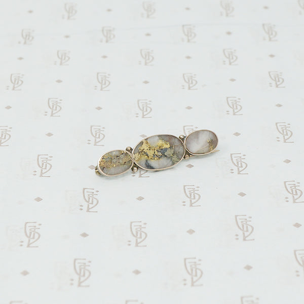 gold quartz trio brooch
