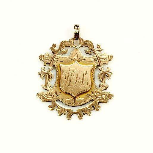 9k Rose Gold Shield Shaped Victorian Fob Pendant
