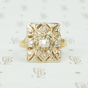 vintage 1930's rectangular tablet ring with filigree and diamonds in 14k yellow gold