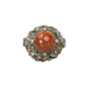 mid century silver and goldstone ring flower with gilt traces