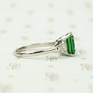 Rich Green Tsavorite Garnet Emerald Cut in Platinum