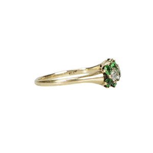 Green Garnet and OMC Diamond Ring - Gem Set Love