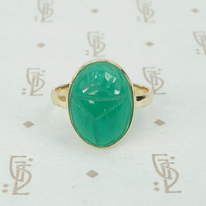vintage green chrysoprase scarab in 14k recycled gold ring