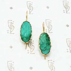 recycled green turquoise and gold earrings
