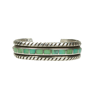 Vintage Coin Silver Cuff with Green Turquoise