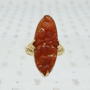 Dramatic Floral Carved Agate Filigree Ring