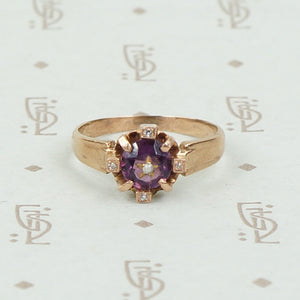 Engraved Amethyst and Rose Gold Victorian Ring