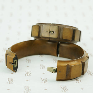 matched pair of gutta percha bangle braceletsside detail