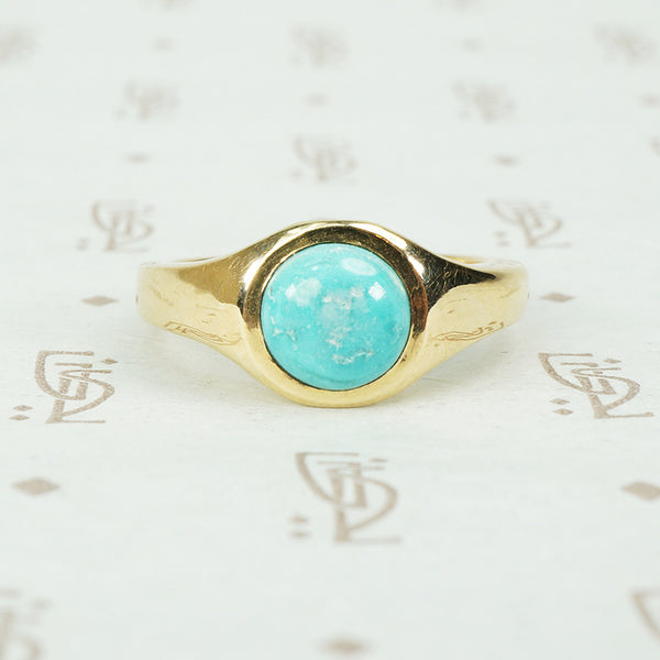 vintage turquoise inrecycled 14k gold gypsy ring