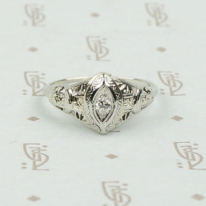 Art Deco Diamond Navette Ring