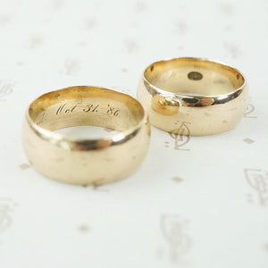 matched set wide 18k wedding bands halloween
