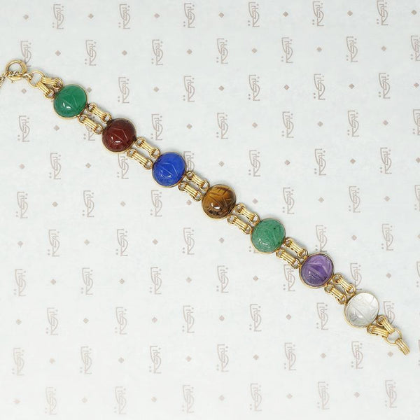 gold filled and hardstone scarab bracelet
