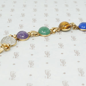 gold filled and hardstone scarab bracelet close up
