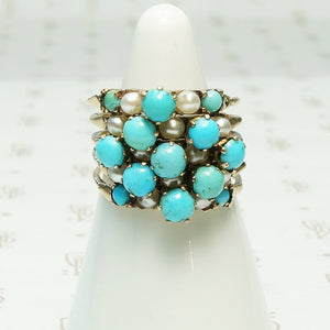 Turquoise and Pearl Harem Ring