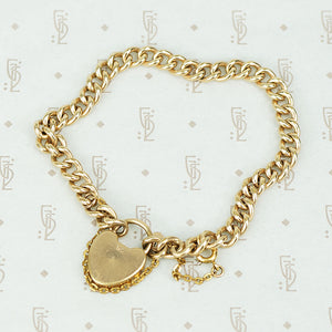 The 19th Century Curb Chain Heart Lock Bracelet