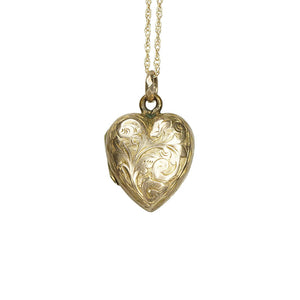 antique gold heart locket necklace