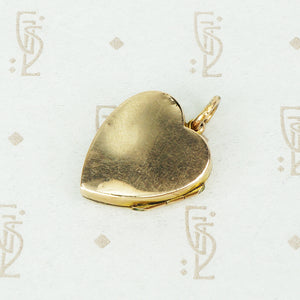 Antique Gold Heart Locket with Star Set Diamond