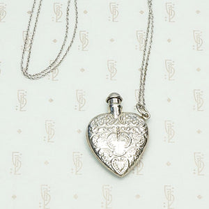 Vintage Valentine Sterling Silver Perfume Bottle Necklace