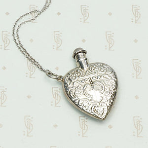 Vintage Valentine Sterling Silver Perfume Bottle Necklace, detail view.