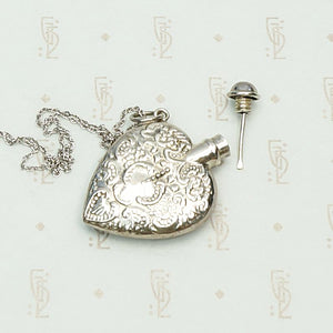 Vintage Valentine Sterling Silver Perfume Bottle Necklace, applicator view.