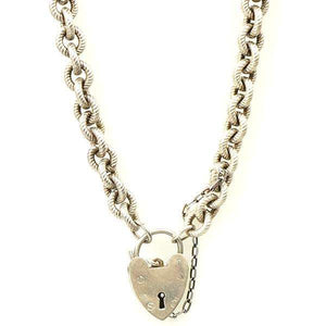 Sterling Silver Heavy Heart Necklace from The Bits & Pieces Collection