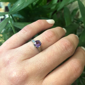 Otsby and Barton White Gold Amethyst Solitaire Ring