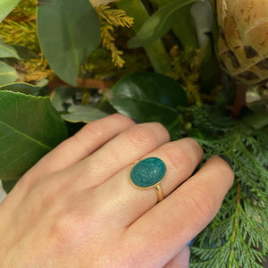 Vintage Chrysoprase Scarab Gold Ring by GSL