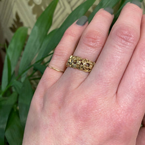 Clover and Forget Me Nots Wide Gold Band