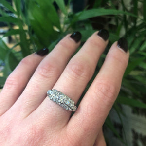 Unique Vintage Pavé Diamond Platinum Ring