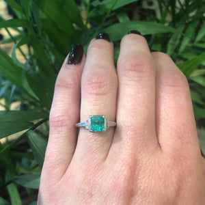 Rich Green Square Emerald and Diamond Ring