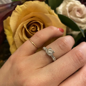 1940s Diamond Platinum Engagement Ring with Baguette Accents
