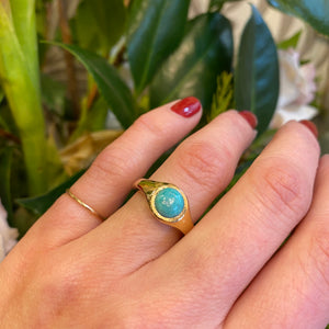 Recycled Gold Turquoise Specimen Gypsy Ring