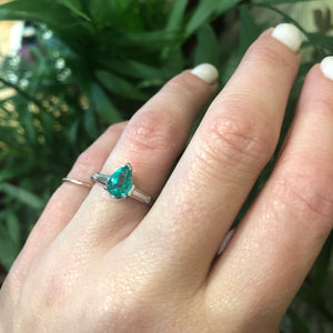 The Platinum Pear Shape Emerald Engagement Ring