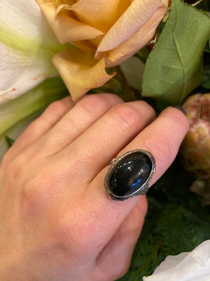 Romantic Dark Sparkle Onyx and Silver Ring