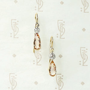 Imperial Topaz and Diamond Drop Earrings
