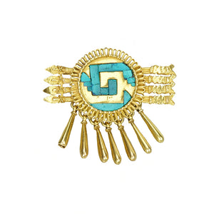 18k Gold Aztec Brooch with Turquoise Inlay - Gem Set Love