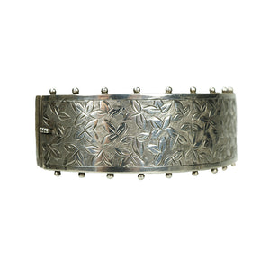 Wide Silver Bangle Engraved with Ivy