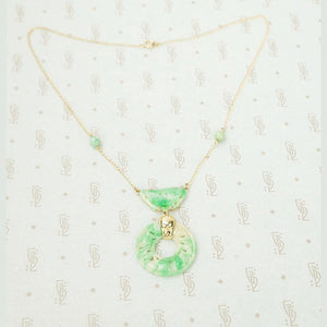 Beautifully Carved Jade Necklace in Gold