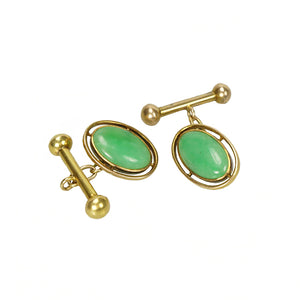 Apple Green Jade and Gold Cuff Links - Gem Set Love