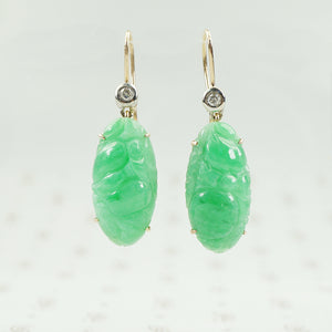 apple jade earrings with diamonds
