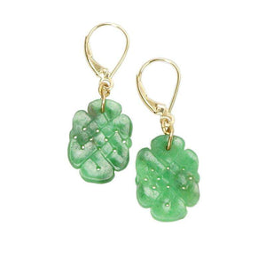 Rich Green Jade Earrings in the form of a Scholars Knot