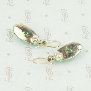 apple jade earrings with diamonds back view